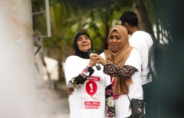 Mother (L) and sister of abducted and murdered Minivan News journalist Ahmed Rilwan. PHOTO: AHMED AIHAM / THE EDITION