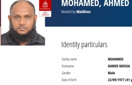 Interpol's red notice on Ahmed Moosa Mohamed, the managing director of SeaLife Global. PHOTO/INTERPOL
