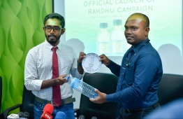 WAMCO staff at the press conference held to announce Project 'Rahdhu' which will pay an incentive of MRV 1 for every plastic bottle returned. PHOTO: HUSSAIN WAHEED / MIHAARU