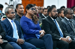 Speaker of parliament Qasim Ibrahim (R), Minister of Defence Mariya Ahmed Didi and Attorney General Ibrahim Riffath in attendance during the ceremony held to inaugurate the road map for judicial reform. PHOTO: NISHAN ALI / MIHAARU