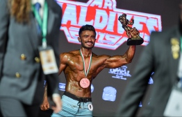 Azneen Rasheed, the winner of Mr Sports Physique title at Mr Maldives 2019. PHOTO: HUSSAIN WAHEED/ MIHAARU