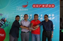 Minister of Communication, Science and Technology Maleeh Jamal, Chief Executive of Communication Authority of Maldives Ilyas Ahmed, Mayor of Fuvahmulah Falaah Shareef and the CEO of Ooredoo Maldives Najib Khan, launching SuperNet Fibre Broadband services in Fuvahmulah City. PHOTO: Ooredoo