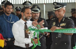 Minister of Home Affairs Imran Abdulla inaugurating the desalination plant established by Prisco in Maafushi Prison. PHOTO: HOME MINISTRY