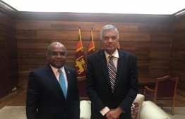 Foreign Minister Abdulla Shahid meets with Prime Minister of Sri Lanka Ranil Wickremesinghe. PHOTO: FOREIGN MINISTRY