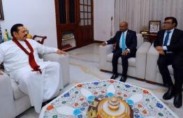Minister of Foreign Affairs Abdulla Shahid and Ambassador to Sri Lanka Umar Razzaq (R) meeting with Sri Lanka's former President Mahinda Rajapaksa (L). PHOTO: FOREIGN MINISTRY