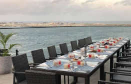A table set at Maagiri with waterfront views. PHOTO: MAAGIRI HOTEL