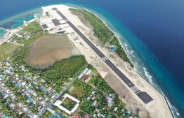 Aerial view of the airport in HDh.Kulhudhuffushi. The development of which costed the island it's large mangrove system and impacted the livelihood of women who utilized the mangrove to make coir rope. PHOTO: IRUSHAD