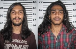Abdul Muheeth's murderers Muhujath Ahmed Nasih (L) and Mohamed Maimoon (R). PHOTO: POLICE