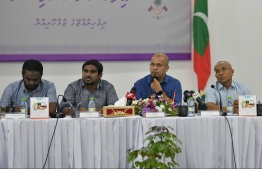 Members of Elections Commission (EC) at a press conference. PHOTO: HUSSAIN WAHEED/ MIHAARU