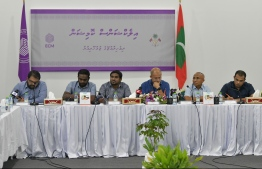 A press conference held by the Elections Commission (EC). PHOTO: HUSSEIN WAHEED