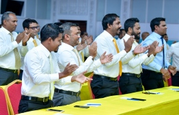 Members of Maldivian Democratic Party (MDP). Parliament members representing MDP have expressed concerns over the recent amendments proposed to the Prevention of Terrorism Act. PHOTO: NISHAN ALI/ MIHAARU