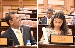 Former President and Machangolhi Central MP Mohamed Nasheed (L) and Galolhu North MP Eva Abdulla, the newly elected Speaker and Deputy Speaker of the 19th Parliament. PHOTO/MIHAARU