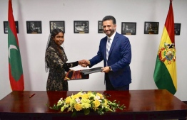 Permanent Representative of Maldives to the United Nations (UN), Thilmeeza Hussain and Permanent Representative of Bolivia to the (UN), Sacha Sergio Llorenti Soliz. PHOTO: PERMANENT MISSION OF MALDIVES TO THE UNITED NATIONS