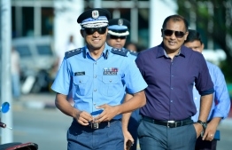 Commissioner of Police Mohamed Hameed. He announced that investigations were launched into seven officers who were documented beating up a suspect last Thursday night. PHOTO: NISHAN ALI/ MIHAARU
