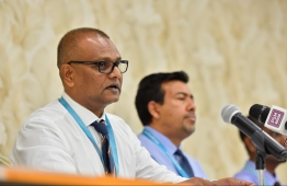 IGMH's CEO Ibrahim Saleem speaks at press conference on June 3, 2019. PHOTO: HUSSAIN WAHEED / MIHAARU