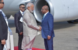 Minister of Foreign Affairs Abdulla Shahid received Prime Minister Modi, at Velana International Airport. PM Modi chose Maldives to mark his first official visit after being elected for a second term. PHOTO: PRESIDENT'S OFFICE