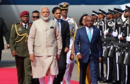 Minister of Foreign Affairs Abdulla Shahid escorts Indian Prime Minister Modi after his arrival in Maldives. The Indian prime minister is visiting Maldives on the invitation of President Solih, to further strengthen the bilateral ties between the two countries. PHOTO: PRESIDENT'S OFFICE