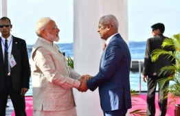 President Ibrahim Mohamed Solih receives Indian Prime Minister Narendra Modi, following his arrival at the Presidential Jetty - 'Izzudeen Faalan'. PHOTO: PRESIDENT'S OFFICE.