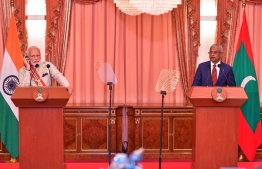 President Ibrahim Mohamed Solih (R) and Indian Prime Minister Narendra Modi hold joint press conference during the latter's first state visit to Maldives on June 8, 2019. PHOTO: NISHAN ALI/MIHAARU