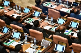 19th sitting of the Parliament. PHOTO: HUSSAIN WAHEED/MIHAARU