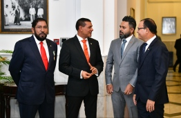 June 8, 2019, People's Majilis, Male' City: Prominent lawmakers including Qasim Ibrahim (L), Ahmed Siyam (L-2) and Adam Shareef (R) after Indian Prime Minister Narendra Modi's address to the Maldivian parliament. PHOTO: HUSSAIN WAHEED/MIHAARU