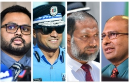 Commissioner of Prisons Abdulla Munaz (R), Minister of Home Affairs Imran Abdulla, Police Commissioner Mohamed Hameed and Controller of Immigration Mohamed Ahmed Hussain (Hanafee) -- the four of them will be summoned to National Security Committee for permitting ex-VP Adeeb to leave abroad for medical treatment. PHOTO: MIHAARU