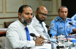 Minister of Home Affairs Imran Abdulla at the Committee on National Security. PHOTO: NISHAN ALI/MIHAARU