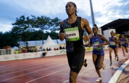 South African Caster Semenya competes during the women's 2000m race during the France's LNA (athletics national association) Pro Athle Tour meeting on June 11, 2019 at the Jean-Delbert stadium in Montreuil, a Paris neighbouring suburb. The double 800m Olympic champion, who was racing for the first time since a controversial new gender ruling came into effect, finished in 5min 38.19sec ahead of Ethiopian pair Hawi Feysa and Adanech Anbesa.