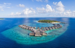 Aerial photograph of the St Regis Vommuli Resort, nestled deep in the blues of Dhaalu Atoll. PHOTO: MARRIOT HOTELS.