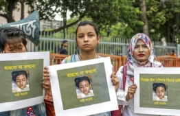 The brutal murder of schoolgirl Nusrat Jahan Rafi prompted protests across Bangaldesh PHOTO: AFP