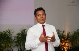 Addu City Mayor Abdulla Sodiq (Sobe') speaking at an event. PHOTO: ADDU CITY COUNCIL