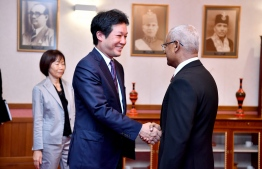 Special Advisor to Japanese Prime Minister calls on President Solih. PHOTO: PRESIDENT'S OFFICE.