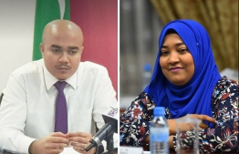 Maldives Broadcasting Commission's former Vice President Ismail Sofwan and current Vice President Fathimath Zaina. PHOTO: MIHAARU