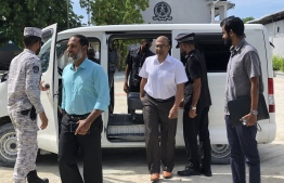 Minister of Home Affairs Imran Abdulla arriving at Maafushi Prison to clarify the events which occurred on Thursday. PHOTO: MINISTRY OF HOME AFFAIRS.