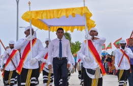Vice President Faisal Naseem was warmly welcomed by the citizens of Molhadhoo Island. PHOTO: PRESIDENTS OFFICE