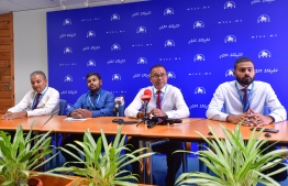 From the press conference held by Maldives Transport and Contracting Company (MTCC). PHOTO: NISHAN ALI/ MIHAARU