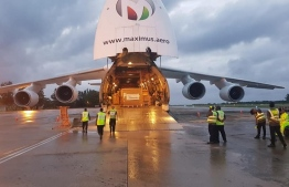 Maximus Air Cargo Antonov An-124 which landed in Gan International Airport carrying the MRI machine. PHOTO: READER
