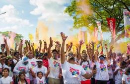 Participants of Ooredoo Colour Run 2018. PHOTO: OOREDOO MALDIVES