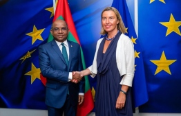Minister of Foreign Affairs Abdulla Shahid meets High Representative/Vice-President Federica Mogherini. PHOTO: FOREIGN MINISTRY.
