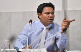 Ahmed Easa at a Majilis Committee: the domestic violence case against Easa was first reported in May - Photo: Nishan Ali/ Mihaaru