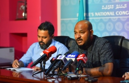 PNC Vice President Ibrahim Shujau speaking at a press conference. PHOTO: HUSSAIN WAHEED/MIHAARU