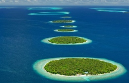 An aerial picture depicting a well-known array of islands in Baa Atoll. PHOTO:THE BAA ATOLL UNESCO BIOSPHERE RESERVE