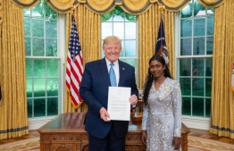 Newly appointed Ambassador to United States Thilmeeza Hussain presents credentials to US President Donald Trump. PHOTO: TWITTER.COM/MVPMNY