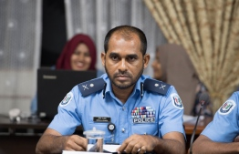 Assistant Commissioner of Police Abdulla Ahmed speaks at the meeting of the parliamentary Committee on Human Rights and Gender, regarding the recent case of police brutality. PHOTO/MAJLIS