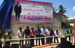 A ceremony held on April 29, 2017, to inaugurate the project to establish a sewerage system in Maradhoo. PHOTO: MIHAARU