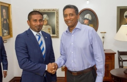 Minister of Youth, Sports and Community Empowerment Ahmed Mahloof and President of Seychelles Danny Faure. PHOTO: MINISTRY OF YOUTH SPORTS AND COMMUNITY EMPOWERMENT