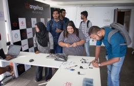 Participants of AngelHack hackathon. PHOTO: DHIRAAGU