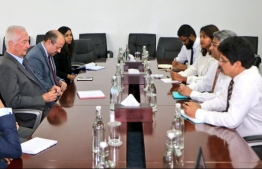 European Union Counter-Terrorism Coordinator calls on State Minister Ahmed Khaleel. PHOTO: FOREIGN MIN
