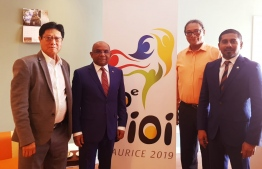 Minister of Foreign Affairs Abdulla Shahid and Minister of Youth, Sports and Community Empowerment Ahmed Mahloof meeting the Mauritius Minister of Youth and Sports, Jean Christophe Stephen Toussaint as well as President of the Mauritius Olympic Committee, Philippe Hao Thyn Voon Ha Shun. PHOTO: MINISTRY OF FOREIGN AFFAIRS.