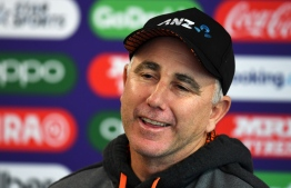 New Zealand's head coach Gary Stead attends a press conference at Old Trafford in Manchester, north-west England on July 7, 2019, ahead of their 2019 Cricket World Cup semi-final match against India. (Photo by Dibyangshu SARKAR / AFP) /